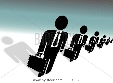 Row Of Suits With Briefcases Symbol Business People Ready To Work.Eps