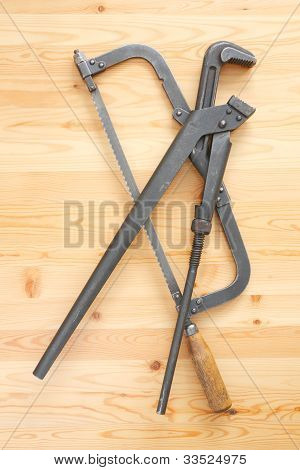 Hacksaw And Adjustable Spanner