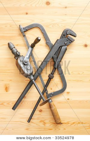 Hacksaw, Adjustable Spanner And Drill