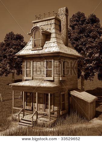 Cartoonish House Sepia