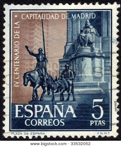 Cervantes Memorial In Madrid