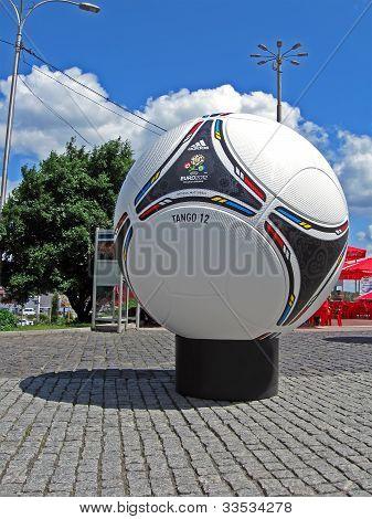 Kiev - June 02: Football Emblem On Big White Euro 2012 Matchball On June 02, 2012 In Kiev, Ukraine.