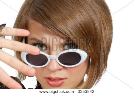 Discontent Young Woman In Sunglasses