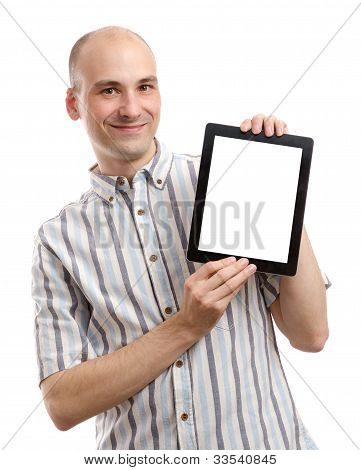 Handsome Smiling Man With Tablet Computer