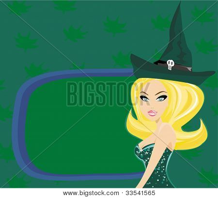 Halloween witch standing with pumpkin , vector illustration