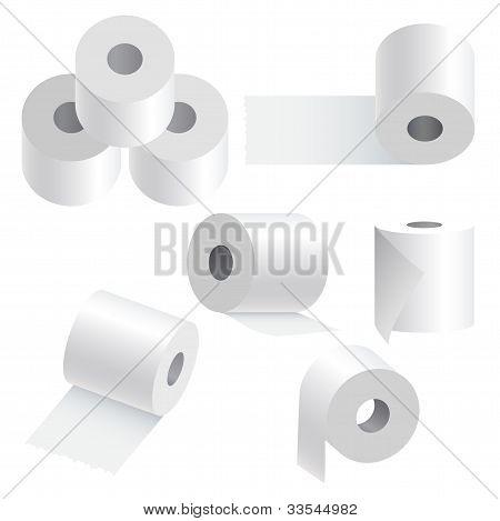 Toilet Paper Set On White Background.