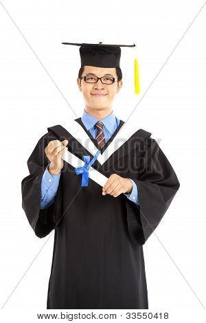 Portrait of happy graduating student