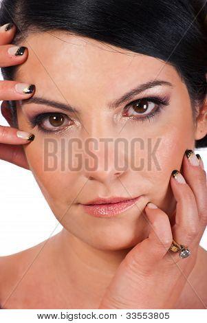 Close Up Of Woman Face With Makeup