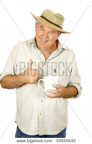 Daumen hoch Man mit Kaffee