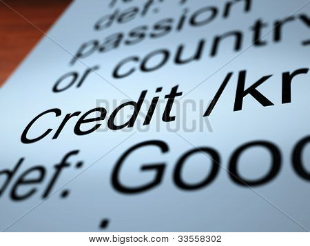 Credit Definition Closeup Showing Cashless Payment