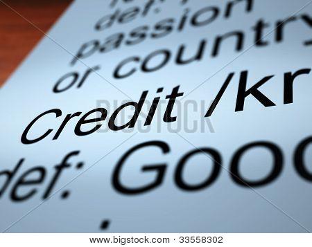Definição de crédito Closeup mostrando pagamento Cashless