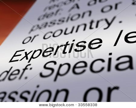Expertise Definition Closeup Showing Skills Or Proficiency