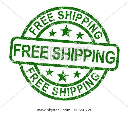 Free Shipping Stamp Showing No Charge Or Gratis To Deliver