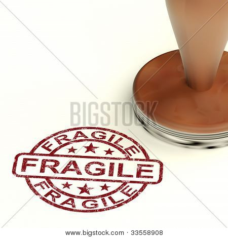 Fragile Stamp Shows Breakable Or Delicate Products For Delivery