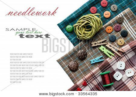 Various Sewing Supplies With Place For Your Text.