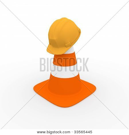 Safety Helmet On A Traffic Cone