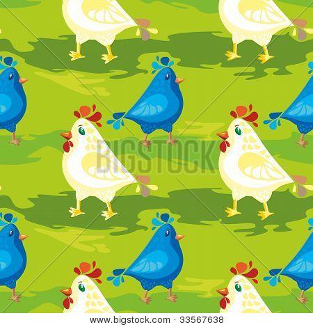 Cartoon Bllue Bird And Hen