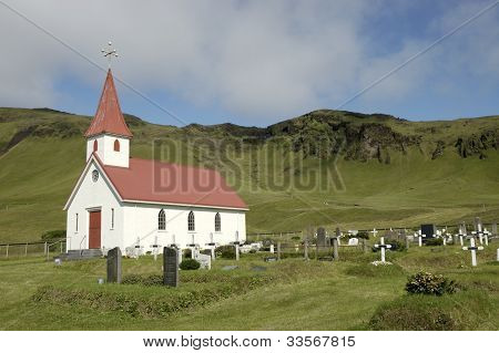 Dyrholaey Churh And Cemetery, Iceland.