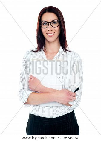 Corporate Lady Holding Viral Notepad And Pen
