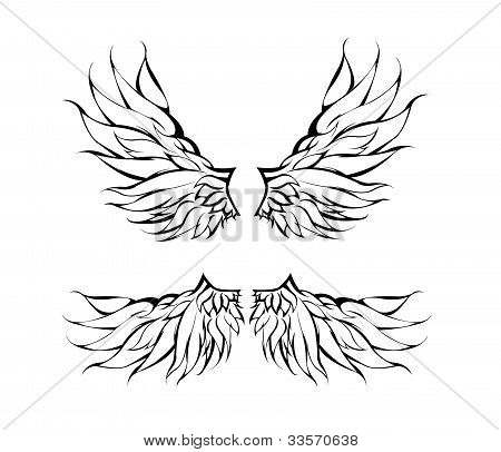 Tribal Wings Tattoo vector