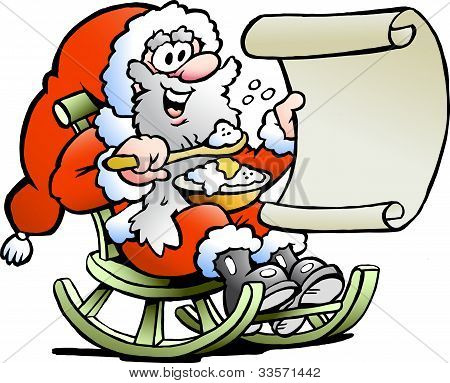 Hand-drawn Vector Illustration Of An Santa Claus Looks On His Wish List