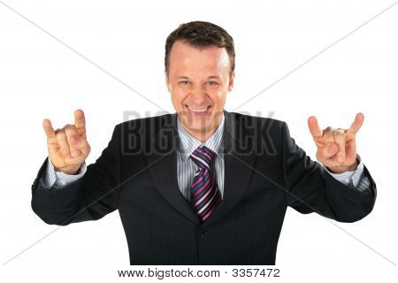 Businessman Represents Gangster With Spred Wide Fingers