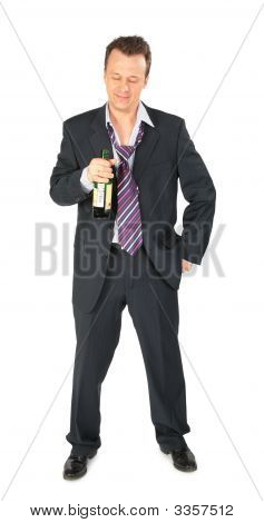 Businessman With Bottle Of Wine