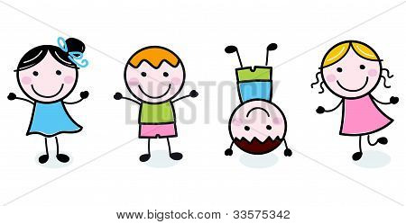 Doodle Happy Kids Group Isolated On White
