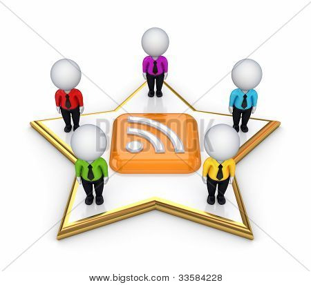 3d small people on a star around RSS symbol.