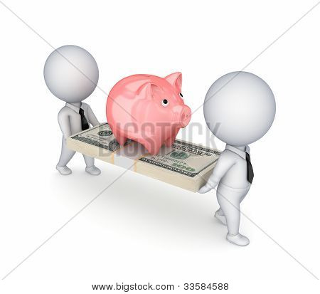 3d small people,pink piggy bank and dollar pack.