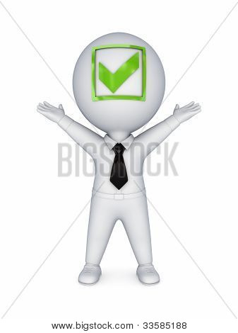 3d small person with a tick mark on a face.