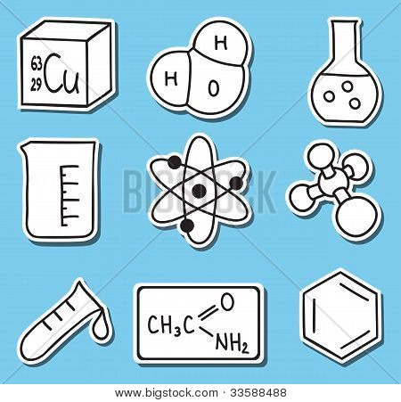 Illustration Of Chemistry Icons -stickers