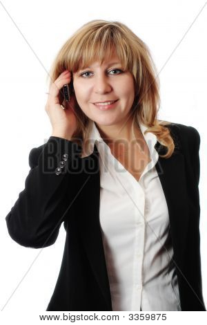 Successful Smiling Woman Talking On Mobile Phone