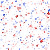 American Memorial Day Stars Background. Holiday Confetti In Usa Flag Colors For Patriot Day.  Solemn poster