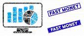 Mosaic Statistics Monitoring Pictogram And Rectangular Seal Stamps. Flat Vector Statistics Monitorin poster