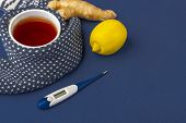 Cup Of Tea, Ginger, Lemon And Cranberry As Folk Remedies On Blue Background  With Copy Space For Tex poster