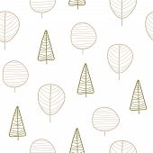 Seamless Pattern With Cartoon Trees. Flat Vector. Hand Drawing. Theme Of Nature, Forest. Design For  poster