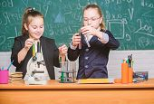 Inspire. Little Girls Scientist With Microscope. Biology Lab. Happy Genius. Little Girls Genius In S poster