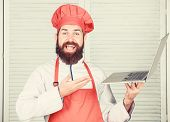 Hipster In Hat And Apron Buy Products Online. Shopping Online. Delivery Service. Man Chef Searching  poster
