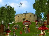 stock photo of  midget elves  - Dwarfs land Mushroom houses dreamyland cute fairy - JPG