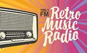 Vector Banner For Radio Station With An Old Radio Receiver And Inscription Retro Music Radio On The  poster