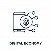 Digital Economy Outline Icon. Thin Line Concept Element From Fintech Technology Icons Collection. Cr poster