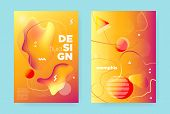 Yellow Fluid Brochure. Orange Vibrant Hipster Cover. Red Music Poster. Modern Memphis Elements. Sun  poster