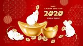 White Metal Rat Is A Symbol Of 2020 Chinese New Year. Greeting Card With Cute Mice Around Realistic  poster