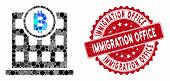 Mosaic Bitcoin Office And Rubber Stamp Seal With Immigration Office Phrase. Mosaic Vector Is Designe poster