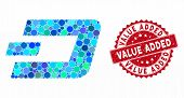 Mosaic Dashcoin And Corroded Stamp Seal With Value Added Phrase. Mosaic Vector Is Formed With Dashco poster