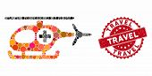Mosaic Medical Helicopter And Rubber Stamp Seal With Travel Caption. Mosaic Vector Is Created With M poster