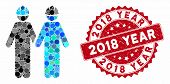 Mosaic Workers And Distressed Stamp Seal With 2018 Year Caption. Mosaic Vector Is Created With Worke poster