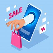 Isometric Online Shopping With Smartphone. E-commerce Shopping. Concept Of Mobile Marketing And E-co poster