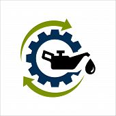 Oil Change Icon Logo Vector. Silhouette Of Oil Canister Bottle Gear And Circle Arrow .symbol For Aut poster